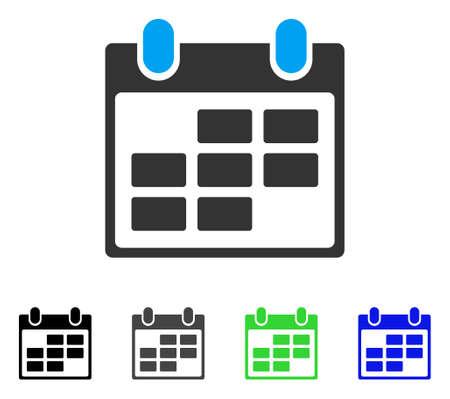 Calendar flat vector icon. Colored calendar gray, black, blue, green pictogram variants. Flat icon style for web design.