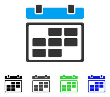 Month Calendar flat vector pictograph. Colored month calendar gray, black, blue, green icon versions. Flat icon style for application design.