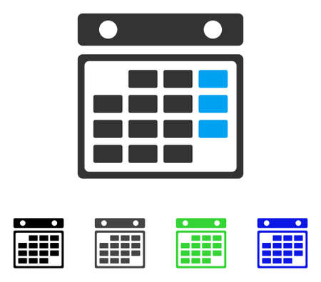 Month Calendar flat vector pictogram. Colored month calendar gray, black, blue, green pictogram variants. Flat icon style for graphic design. Illustration