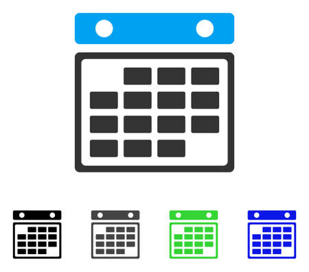 Month Calendar flat vector pictogram. Colored month calendar gray, black, blue, green pictogram versions. Flat icon style for web design.