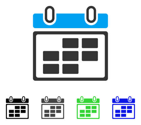 Month Calendar flat vector illustration. Colored month calendar gray, black, blue, green icon versions. Flat icon style for web design. Illustration