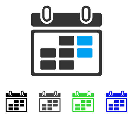 Month Calendar flat vector icon. Colored month calendar gray, black, blue, green icon variants. Flat icon style for web design.