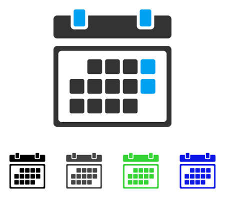 Month Calendar flat vector pictograph. Colored month calendar gray, black, blue, green icon variants. Flat icon style for web design.