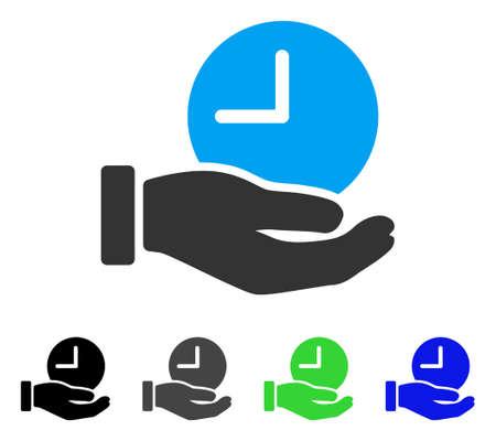 cronometro: Pictograma de vector plano de mano de servicio de tiempo. Servicio de tiempo coloreado mano gris, negro, azul, verde, icono de las versiones. Estilo de icono plano para diseño gráfico.