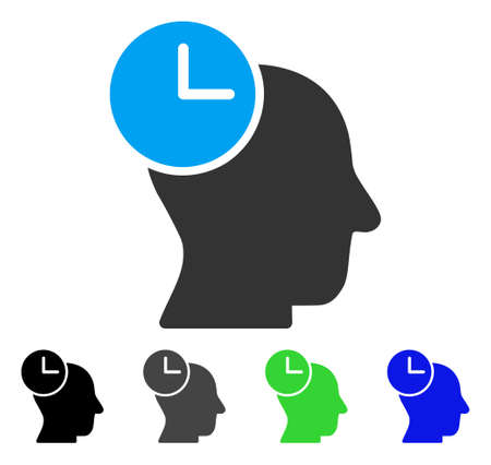 Time Thinking flat vector icon. Colored time thinking gray, black, blue, green pictogram versions. Flat icon style for graphic design.