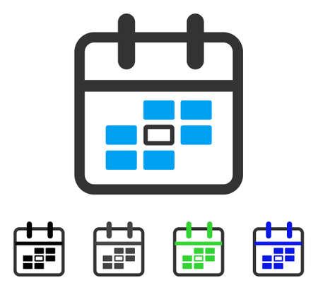Calendario fecha plano vector pictograma. Variantes coloreadas del pictograma de la fecha gris, negra, azul, verde del calendario. Estilo de icono plano para el diseño de aplicaciones. Ilustración de vector