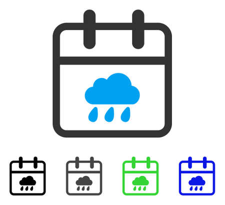 Rainy Day flat vector pictogram. Colored rainy day gray, black, blue, green icon variants. Flat icon style for web design.