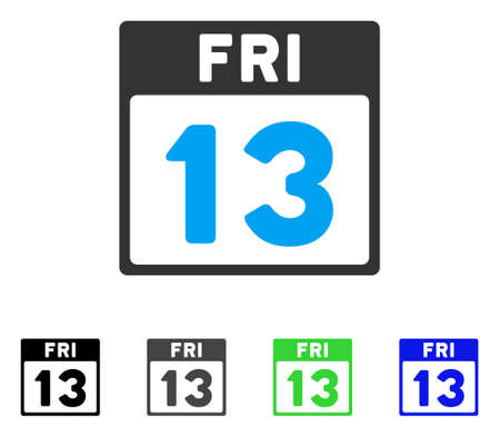 13 Friday Calendar Page flat vector pictogram. Colored 13 friday calendar page gray, black, blue, green pictogram versions. Flat icon style for web design.
