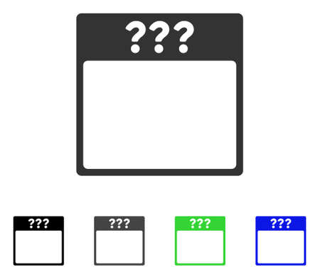 Unknown Calendar Page flat vector pictogram. Colored unknown calendar page gray, black, blue, green icon versions. Flat icon style for application design.