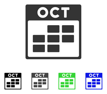 October Calendar Grid flat vector icon. Colored october calendar grid gray, black, blue, green pictogram versions. Flat icon style for web design. Illustration