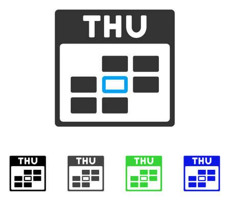 Thursday Calendar Grid flat vector pictogram. Colored Thursday calendar grid gray, black, blue, green pictogram versions. Flat icon style for application design.