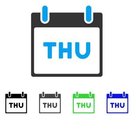 목요일 달력 페이지 평면 벡터 픽토그램. 컬러 목요일 달력 페이지 회색, 검정, 파랑, 녹색 아이콘 버전. 그래픽 디자인을위한 평면 아이콘 스타일.