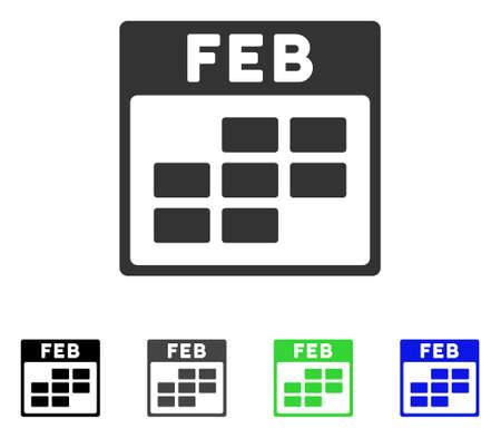 Febbraio Calendar Grid flat vector pictogram. Colorato calendario a griglia in grigio, nero, blu, verde, versioni a pittogramma. Stile icona piatta per la progettazione grafica. Archivio Fotografico - 82834620