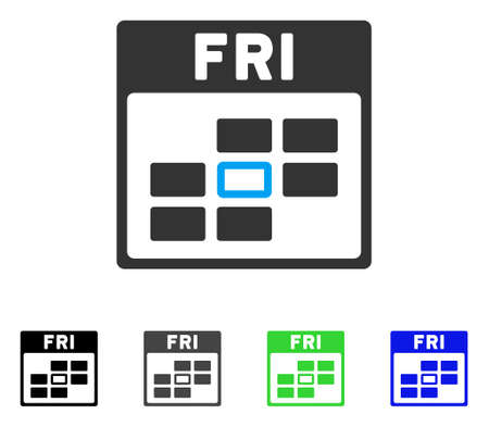 Friday Calendar Grid flat vector pictogram. Colored friday calendar grid gray, black, blue, green icon versions. Flat icon style for web design.