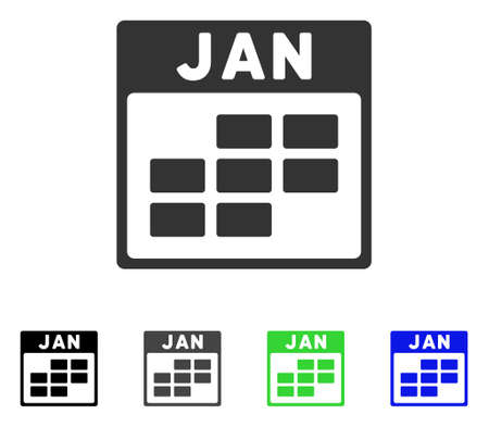 January Calendar Grid flat vector pictogram. Colored january calendar grid gray, black, blue, green pictogram variants. Flat icon style for graphic design.