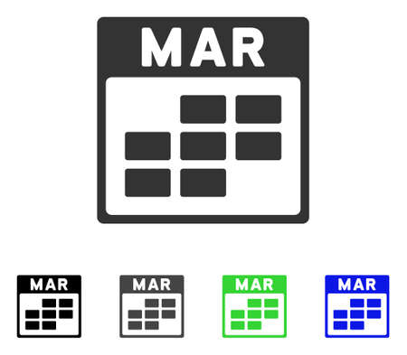 March Calendar Grid flat vector pictogram. Colored march calendar grid gray, black, blue, green pictogram versions. Flat icon style for web design.
