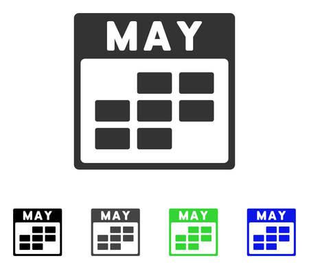 Maggio Calendar Grid flat vector pictogram. Varianti colorate di grigio, nero, blu, verde per il calendario. Stile icona piatta per il web design. Archivio Fotografico - 82836593