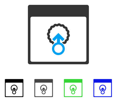 Cell Penetration Calendar Page flat vector pictogram. Colored cell penetration calendar page gray, black, blue, green pictogram variants. Flat icon style for application design.