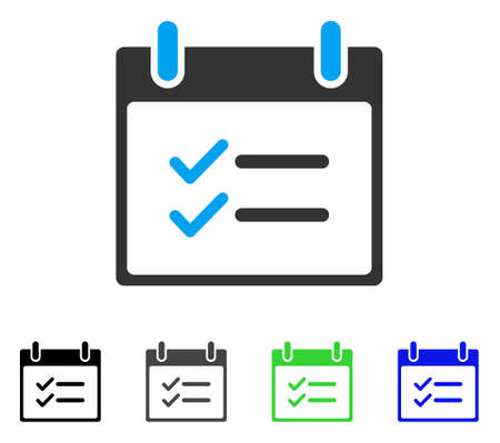 checklist: Check Items Calendar Day flat vector illustration. Colored check items calendar day gray, black, blue, green pictogram variants. Flat icon style for web design.