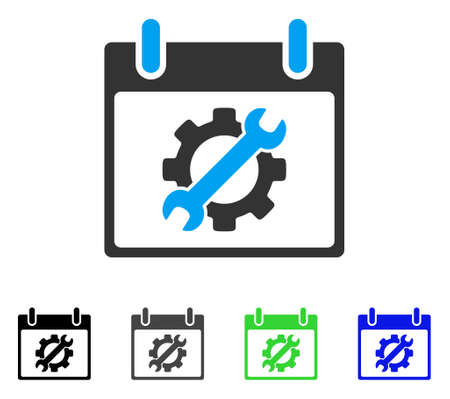 Configuration Tools Calendar Day flat vector icon. Colored configuration tools calendar day gray, black, blue, green pictogram variants. Flat icon style for application design.