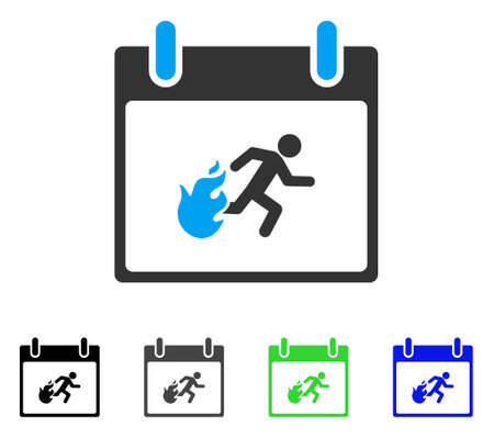Fire Evacuation Man Calendar Day flat vector icon. Colored fire evacuation man calendar day gray, black, blue, green icon variants. Flat icon style for web design.