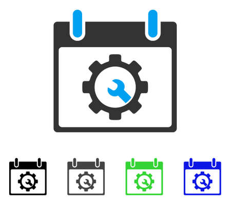 Options Tools Calendar Day flat vector pictograph. Colored options tools calendar day gray, black, blue, green icon versions. Flat icon style for graphic design. Illustration
