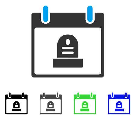 립 기념물 일정 하루 플랫 벡터 픽토그램입니다. 컬러 rip 기념물 달력 하루 회색, 검정, 파랑, 녹색 아이콘 버전. 웹 디자인을위한 평면 아이콘 스타일.