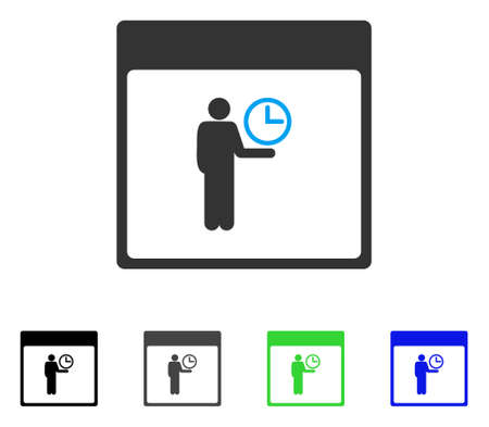 Time Manager Calendar Page flat vector pictograph. Colored time manager calendar page gray, black, blue, green icon variants. Flat icon style for application design.