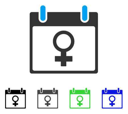 Venus Female Symbol Calendar Day flat vector pictograph. Colored venus female symbol calendar day gray, black, blue, green icon variants. Flat icon style for web design. Иллюстрация