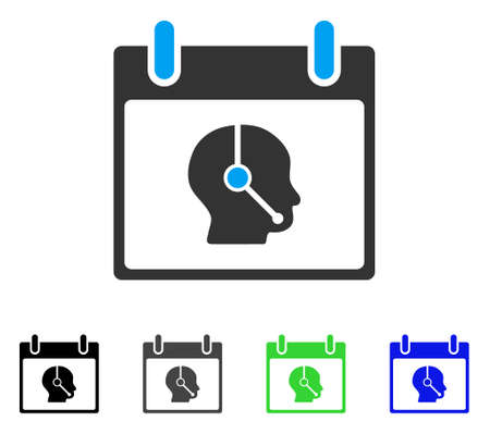 talker: Telemarketing Operator Calendar Day flat vector icon. Colored telemarketing operator calendar day gray, black, blue, green icon variants. Flat icon style.