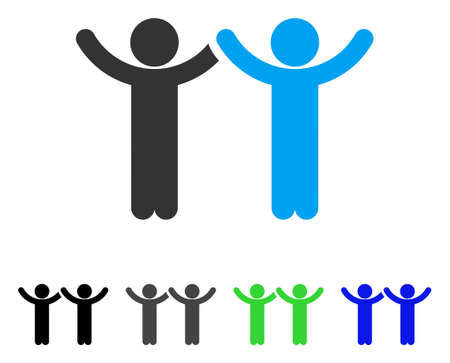 Hands Up Children flat vector icon. Colored hands up children gray, black, blue, green icon versions for application design.