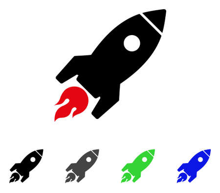 Rocket Launch flat vector illustration. Colored rocket launch gray, black, blue, green icon variants. Flat icon style for web design. Çizim