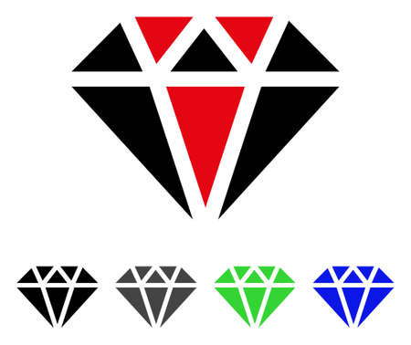 Diamond flat vector pictogram. Colored diamond gray, black, blue, green pictogram variants. Flat icon style for application design.