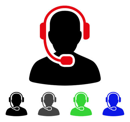 Call center operator flat icon.