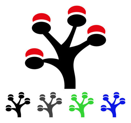 Money Tree flat vector icon. Colored money tree gray, black, blue, green icon versions. Flat icon style for web design. Illustration