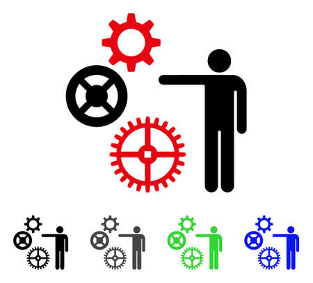 Project Mechanics flat vector pictograph. Colored project mechanics gray, black, blue, green icon variants. Flat icon style for web design. Illustration