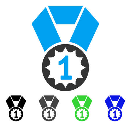 First Place Medal flat vector illustration. Colored first place medal gray, black, blue, green icon variants. Flat icon style for web design.