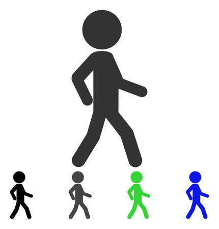 Walking Child flat vector icon. Colored walking child gray, black, blue, green icon versions. Flat icon style for graphic design. Vettoriali