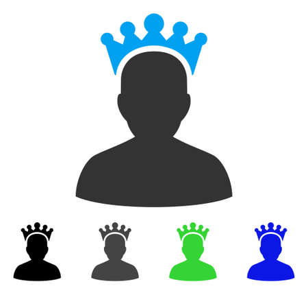 czar: King flat vector pictogram. Colored king gray, black, blue, green pictogram versions. Flat icon style for application design. Illustration