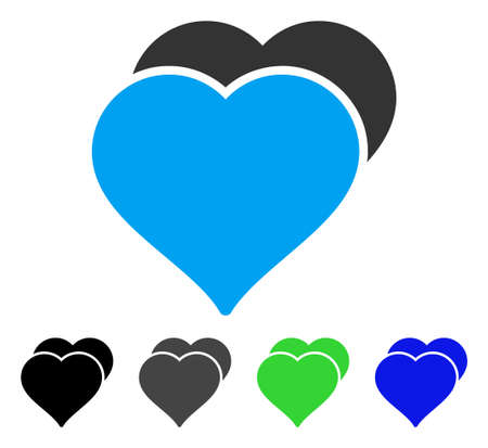 Love Hearts flat vector pictograph. Colored love hearts gray, black, blue, green pictogram versions. Flat icon style for web design. Illustration