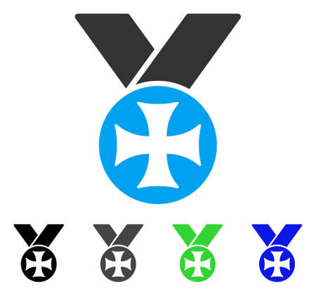 Maltese Medal flat vector pictogram. Colored maltese medal gray, black, blue, green pictogram versions. Flat icon style for web design.