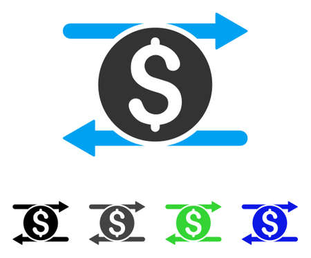 Money Exchange flat vector illustration. Colored money exchange gray, black, blue, green icon variants. Flat icon style for application design. Illustration