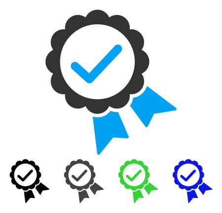 validez: Validity Seal flat vector illustration. Colored validity seal gray, black, blue, green pictogram variants. Flat icon style for application design. Vectores