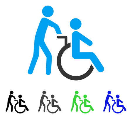 Disabled Person Transportation flat vector pictogram. Colored disabled person transportation gray, black, blue, green icon versions. Flat icon style for application design. Illustration