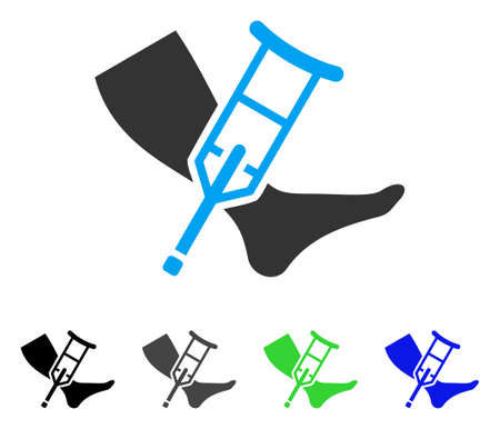 Leg And Crutch flat vector icon. Colored leg and crutch gray, black, blue, green pictogram variants. Flat icon style for web design. Illustration