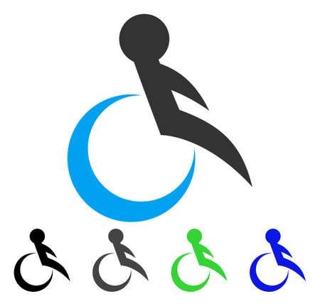invalid: Wheelchair flat vector icon. Colored wheelchair gray, black, blue, green icon versions. Flat icon style for web design. Illustration