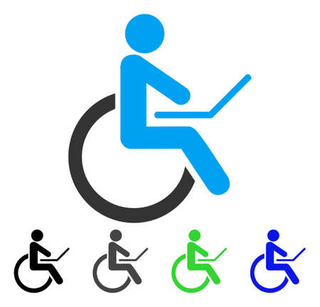 Wheelchair flat vector icon. Colored wheelchair gray, black, blue, green icon versions. Flat icon style for application design. Illustration
