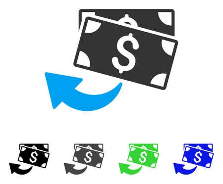 キャッシュ バック フラット ベクトル絵文字。キャッシュ バックの色灰色、黒、青、緑のピクトグラムの亜種。アプリケーション設計のフラット ア