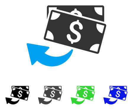Cashback flat vector pictograph. Colored cashback gray, black, blue, green pictogram variants. Flat icon style for application design.