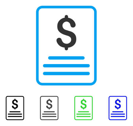 indent: Invoice flat vector pictograph. Colored invoice gray, black, blue, green pictogram variants. Flat icon style for application design. Illustration